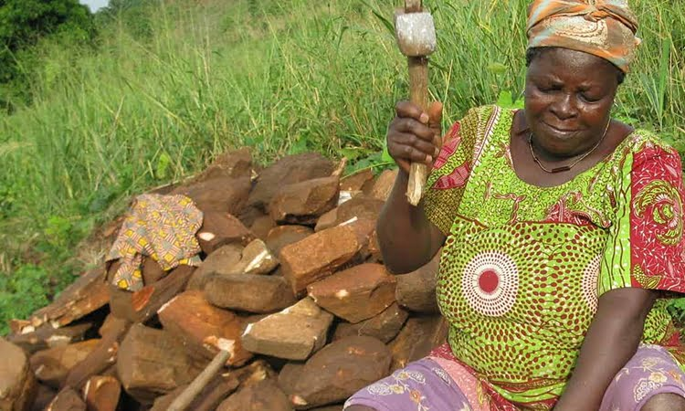 A woman working at a quarry