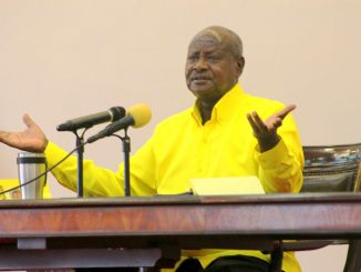 President Museveni press briefing in an NRM yellow shirt