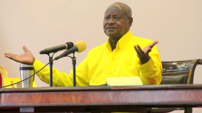 President Museveni press briefing in an NRM yellow shirt