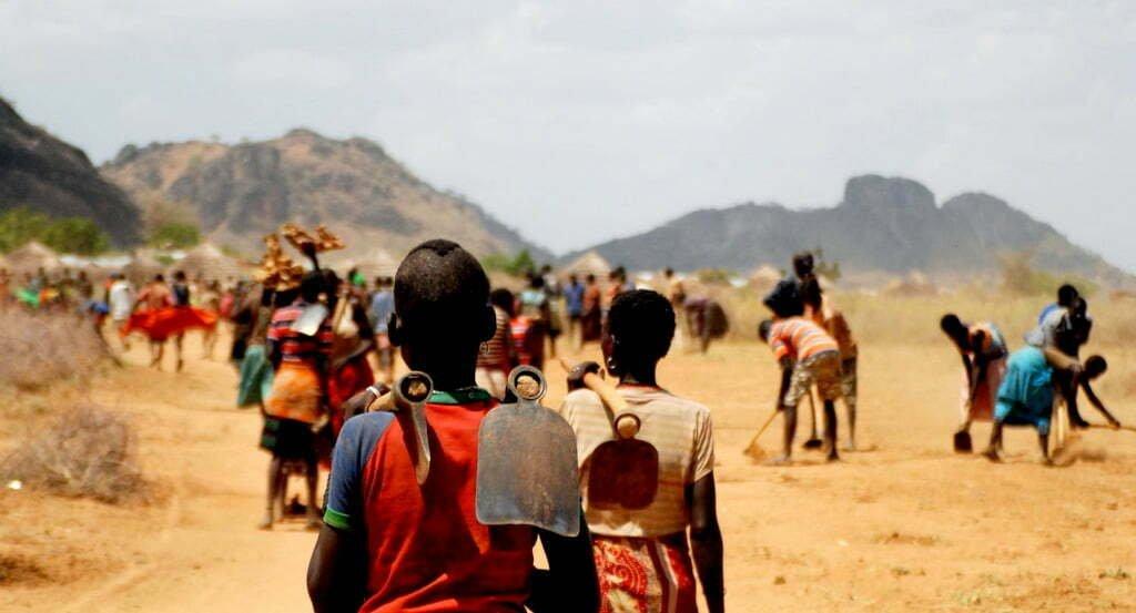Workers going to work in karamoja uganda
