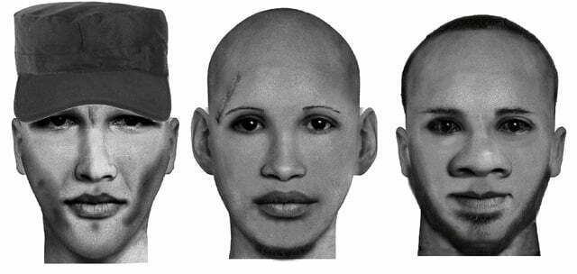 Composite images of three suspects wanted by police in connection to the murder case that happened at Kulambiro in Kisaasi Kampala on 17th March, 2017.