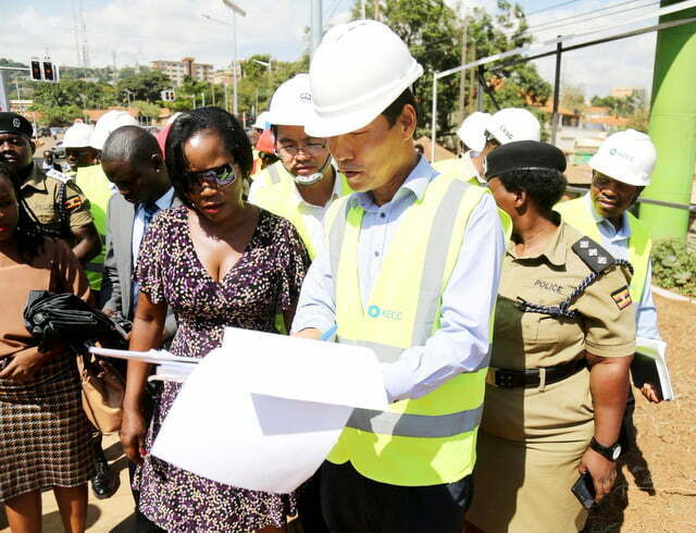 Ms Jennifer Musisi and other officials inspect Kira road recently