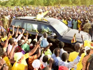 President Museveni campaigning for Watongola in Kamuli