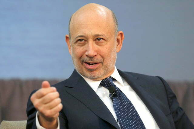 Goldman Sachs CEO Blankfein takes part in a panel discussion in Detroit, Michigan