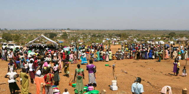 An aerial photograph showing South Sudanese refugees at Bidi Bidi refugeeís resettlement camp near the border with South Sudan, in Yumbe district