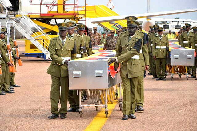 Caskets of Ugandan soldiers