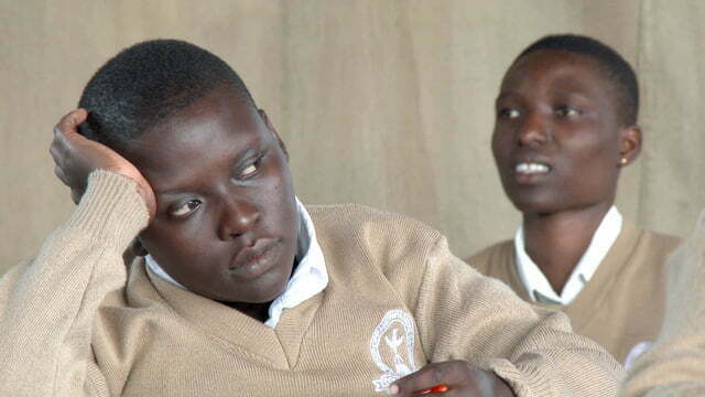 African students studying at school thinking and worried