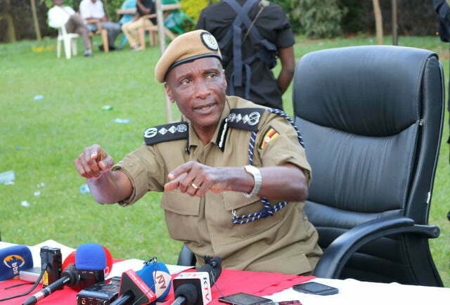 Inspector General of Police, General Kale Kayihura addressing journalists