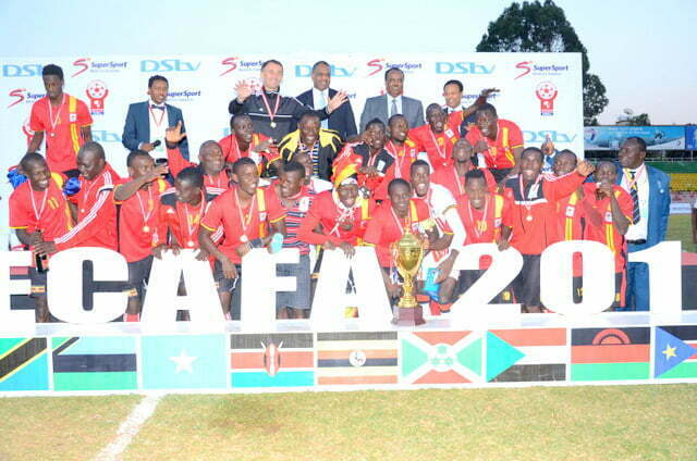 Uganda Cranes after winning Cecafa 2015