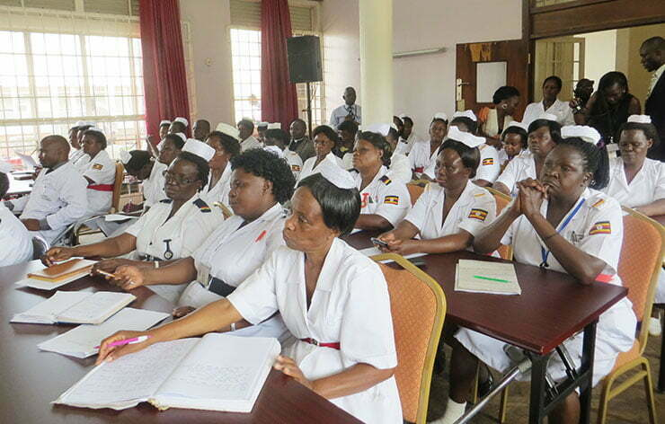Nurses attending the briefing on the MPs visit