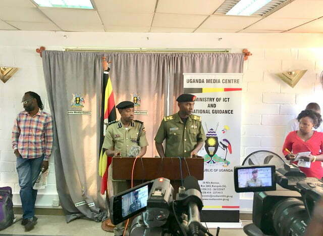 Lt. Col. Deo Akiiki, the Deputy UPDF Spokesperson and his Police Counterpart, Emilian Kayima