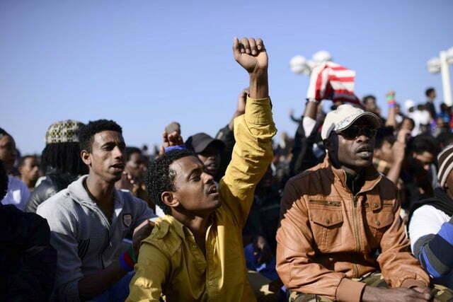 Migrants from Eritrea and Sudan protesting