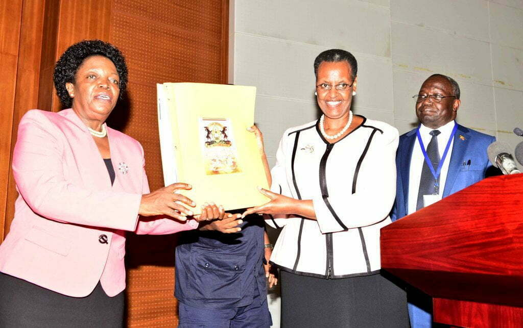 Minister of Education and Sports Janet Museveni releases the results of the 2017 Primary Leaving Examinations (PLE), which were done on November 2nd and 3rd