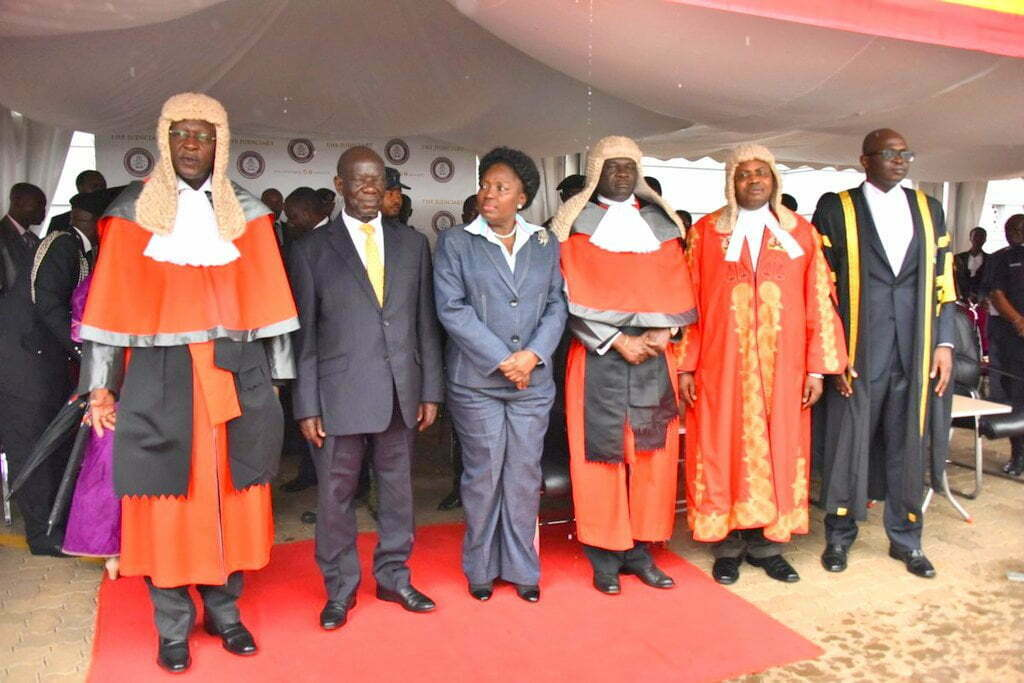 The Chief Justice Bart Katureebe, Vice president Edward Ssekandi,the Speaker Rebecca Kadaga, DCJ Alfonse Owiny-Dollo at the Law Year Opening