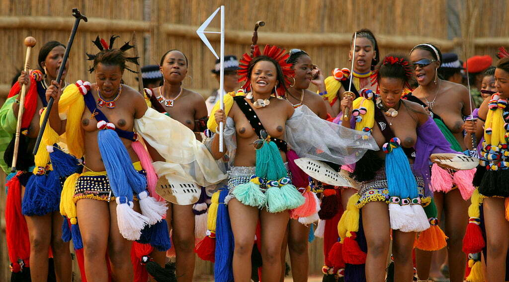 The annual reed dance at the royal residence of Ludzidzini at Lobamba village near Mbabane, Swaziland