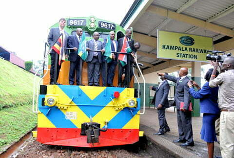 Eng. John Byabagambi, Mr Charles Mbire, Eng Charles Kateeba & Mr David Mwadali during the launch of the three RVR cargo locomotives