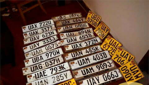 Recovered numberplates in Mukono