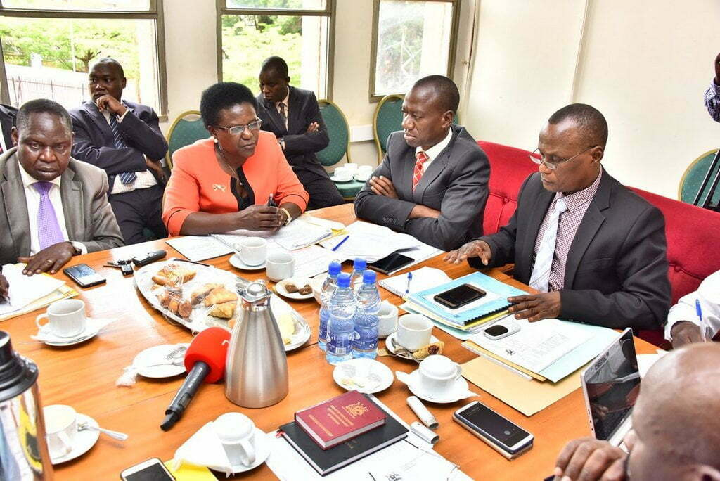 Legislators sitting on the Physical Infrastructure Committee interfacing with officials from the Ministry of Works led by Minister Monica Azuba