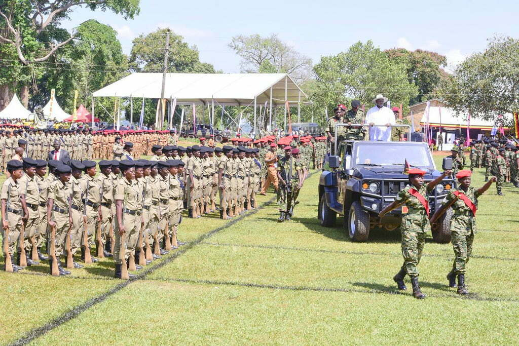 President Museveni inspecting a guard of honour
