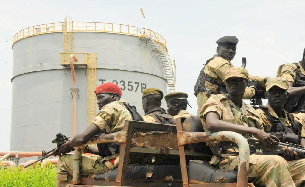 Security forces patrol the Dar Petroleum in Palogue oil field in Nile State in South Sudan