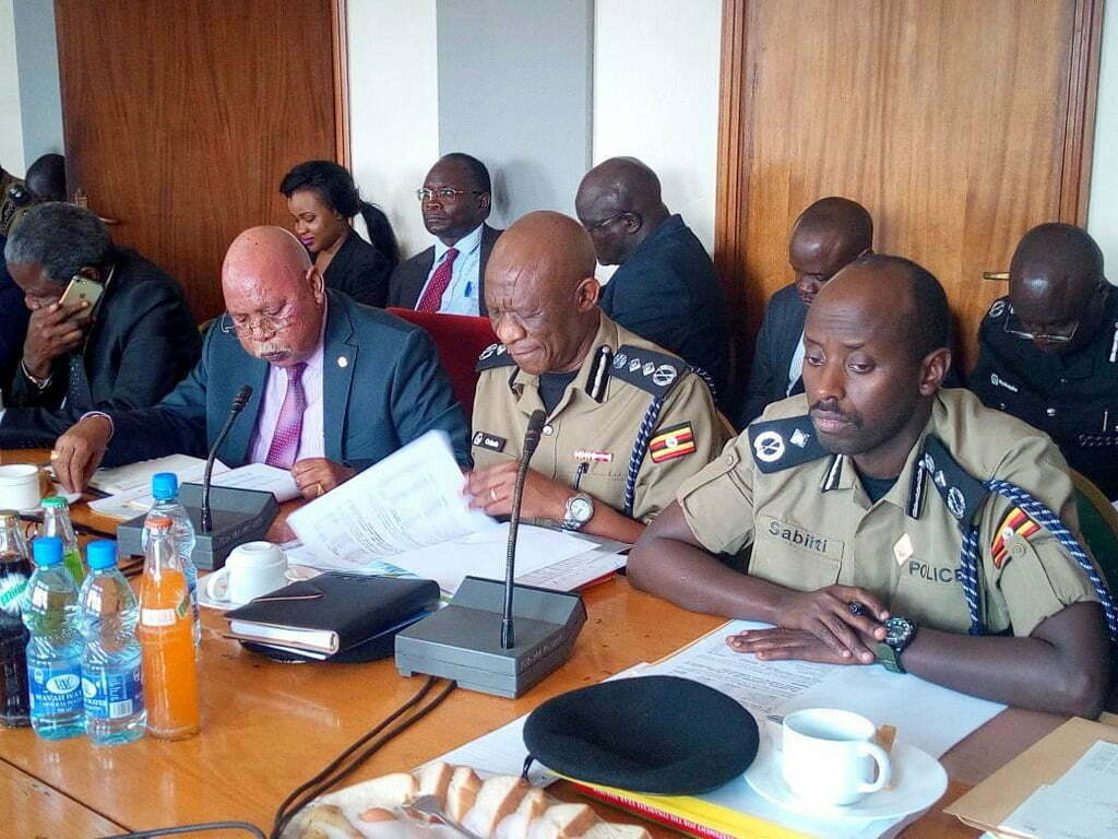 Inspector General of Police (IGP) Martin Okoth Ochola (Centre) at the Defence Committee of Parliament