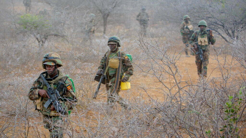 Ugandan soldiers serving with the AMISOM during patrol