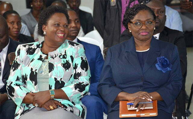 Betty Amongi (L) with Justice Catherine Bamugemereire during the launch of the Commission of Inquiry into land matters last year in May
