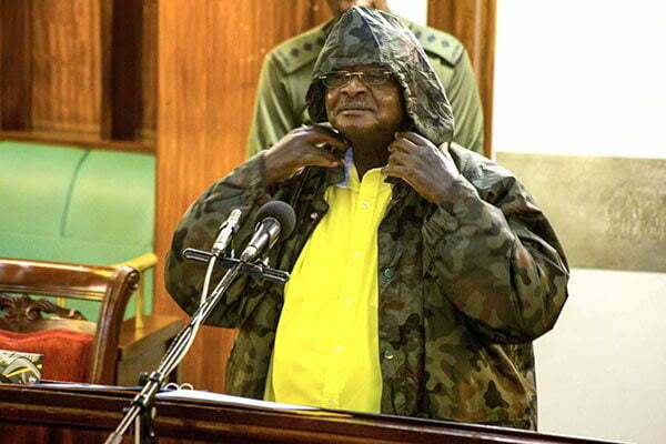 President Museveni wearing a hooded army fatigue hooded jacket