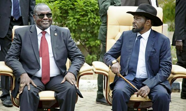 South Sudan's Salva Kiir and Riek Machar sign a peace deal