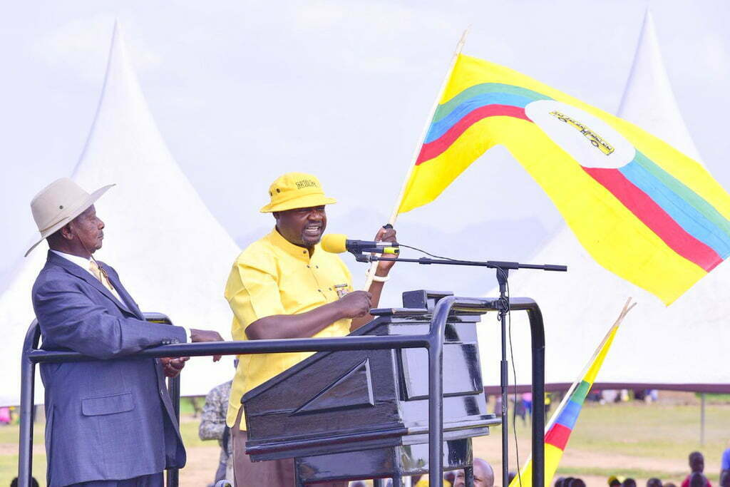 Peter Abraham Lokii, NRM Flag bearer for Kotido MP seat campaigns in Kotido with President Museveni on Sunday