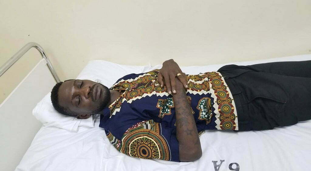 Bobi-Wine-in-hospital-after-he-was-rearrested-at-Entebbe-Airport.