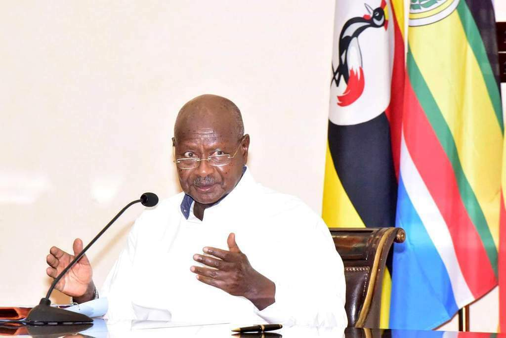 President Yoweri Museveni addressing the nation at State House Entebbe