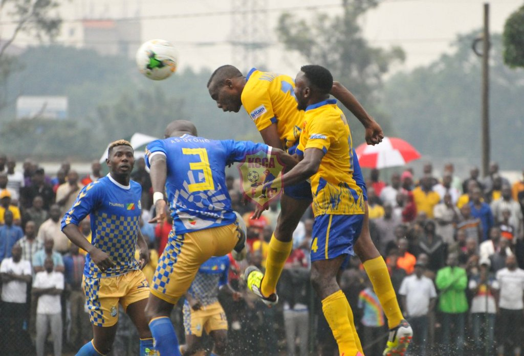 KCCA FC's Patrick Henry Kaddu heading in the first goal at the StarTimes Stadium