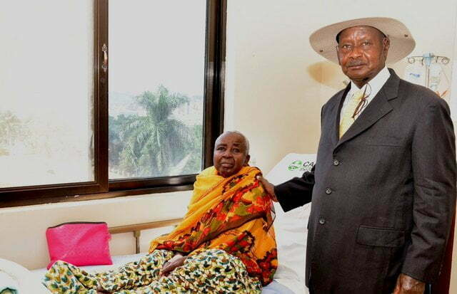 President Museveni at Case Hospital where he had gone to visit Mrs Mukirania