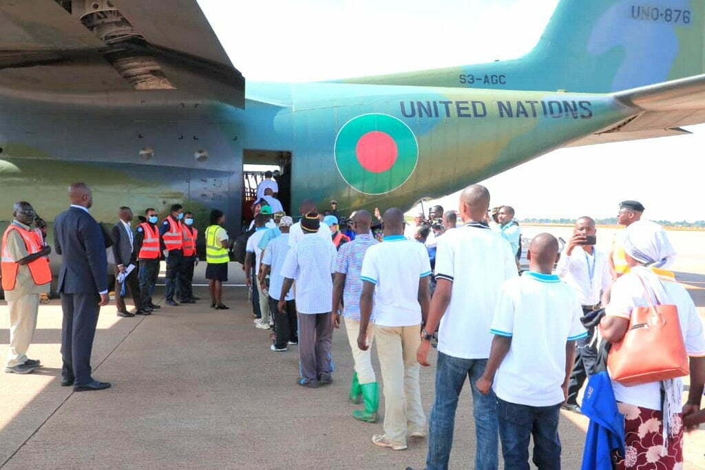 Some of the M23 ex-combatants boarding a UN plane at Entebbe International Airport