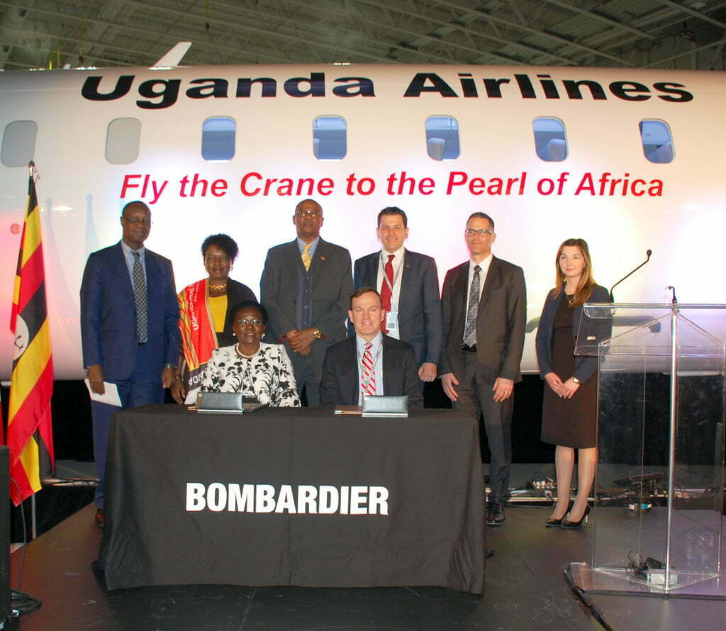 Bombardier Commercial Aircraft celebrated the delivery of the first two of four CRJ900 aircraft ordered by Uganda National Airlines Company in July 2018