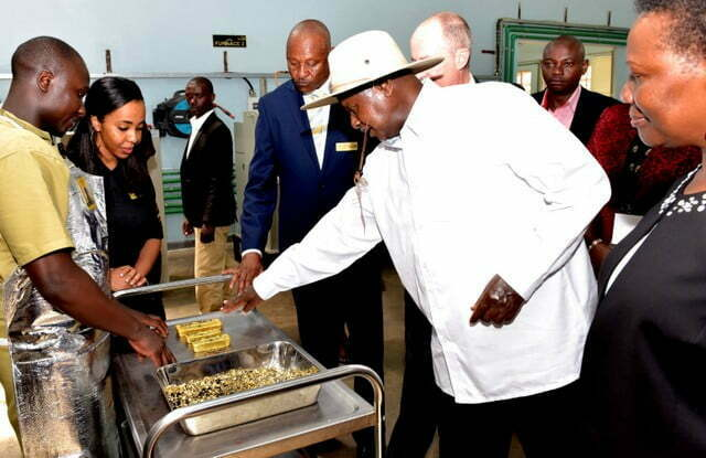 President Museveni at the opening of Africa Gold Refinery in 2017