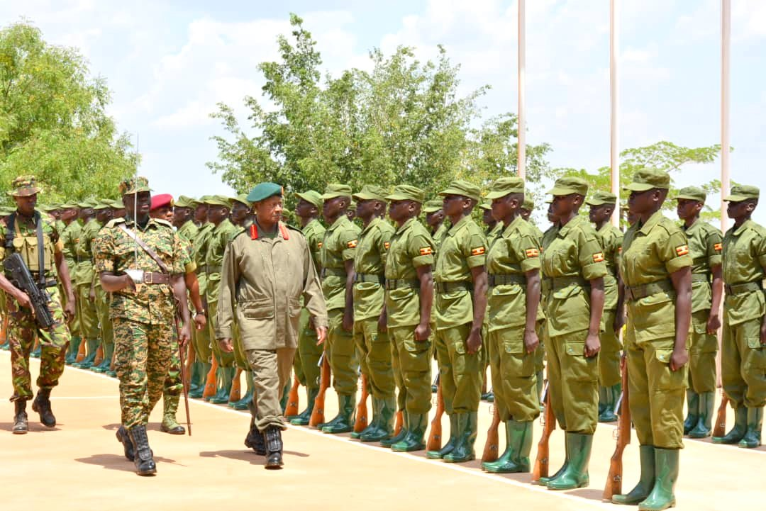 President Yoweri Museveni inspecting a guard of honor during the passing out ceremony of the LDU trainees.