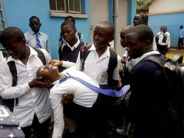 Several female students collapsed after choking on teargas