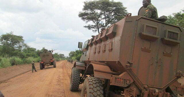 UPDF patrols the Ngomoromo border point after repeling the South Sudaneses militias out of ugandan teritory in 2015
