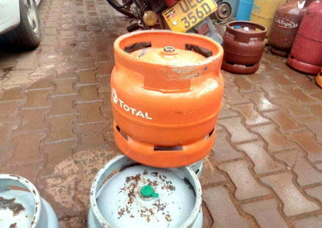 A gas cylinder after being repainted from Mount Meru to Total in Makerere Kikoni