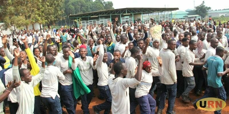 Some of the Bidco Uganda workers protesting against poor working conditions