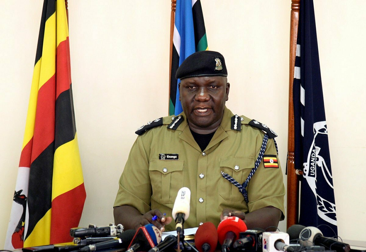 Uganda's police spokesperson Fred Enanga addresses the media on the rescue of Kimberley Sue Endecott at the police headquarters in Kampala