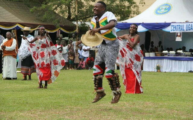 Performers from western Uganda dance during the cultural gala