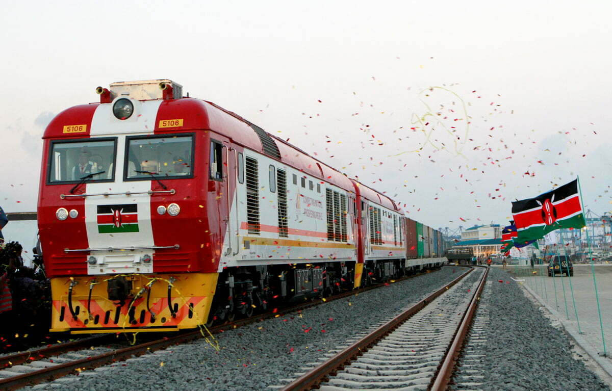 A cargo train is launched to operate on the Standard Gauge Railway line constructed by the China Road and Bridge Corporation and financed by Chinese government in Kenya's coastal city of Mombasa