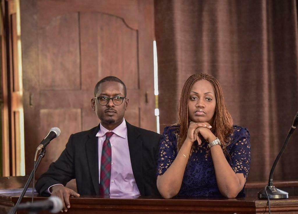 Mathew Kanyamunyu (left) and girlfriend Cynthia Munwangari while appearing before High Court in Kampala