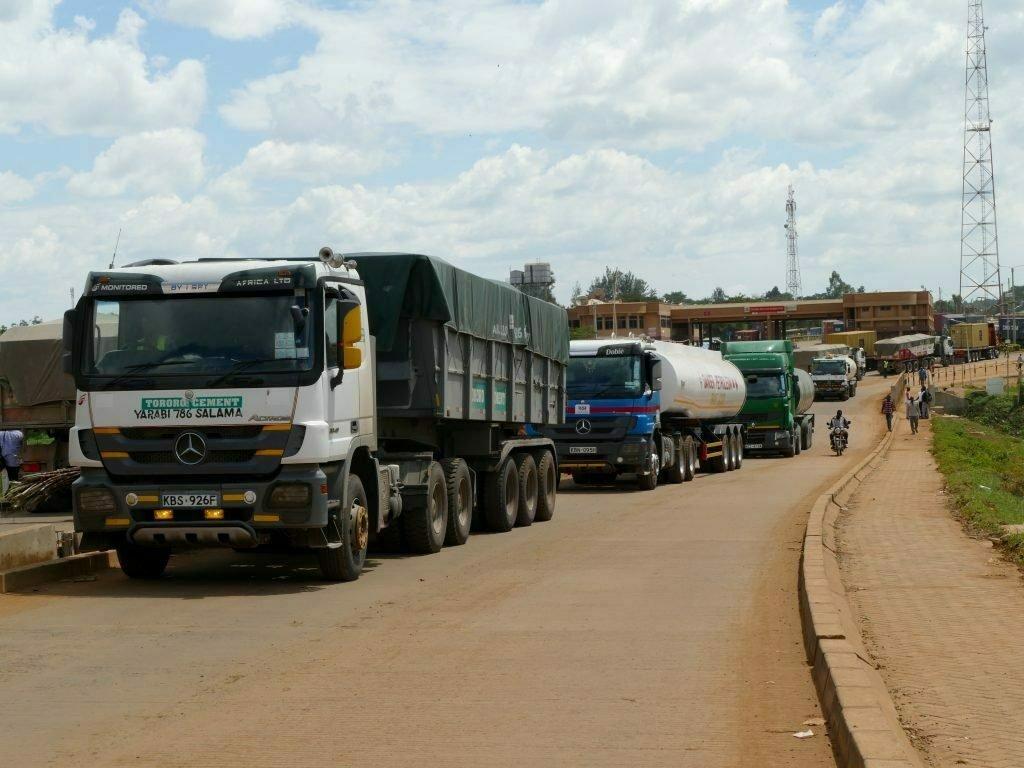 Cargo trucks at Malaba border