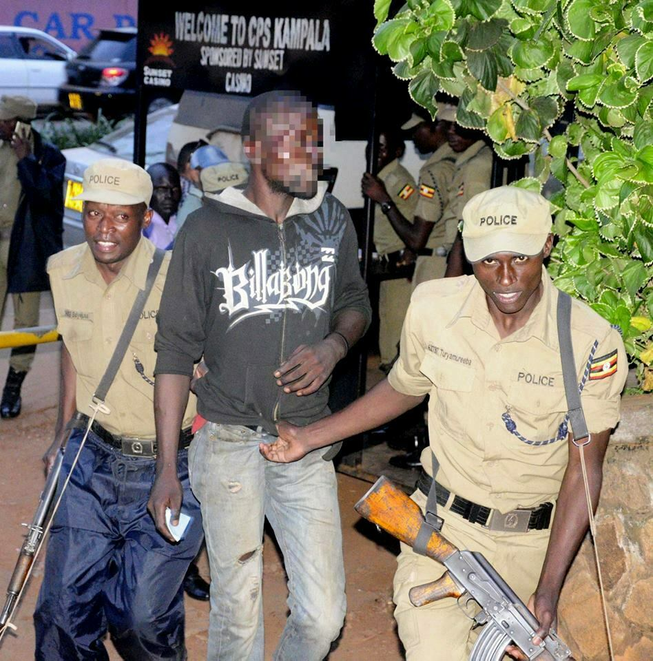 A suspected criminal arrested in Kampala, Uganda