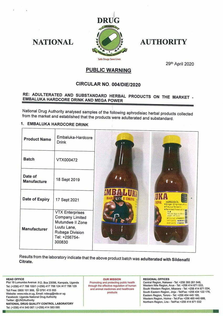 Embaluka-hardcore-drink-and-Mega-power-are-not-registered-and-they-contain-sildenafil-Citrate-a-dangerous-chemical.