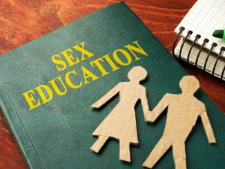 Book with title Sex education on a table.